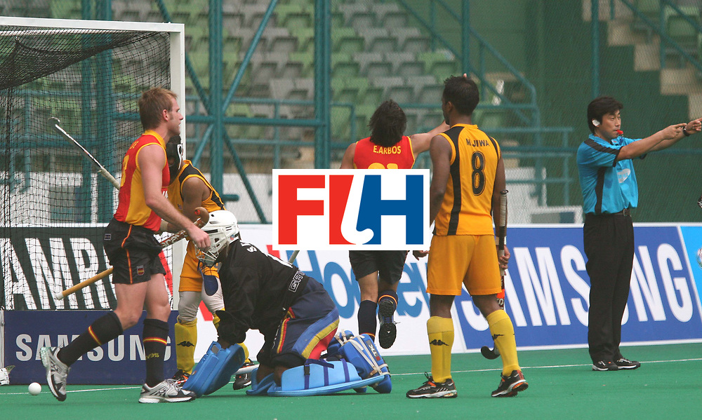 Kuala Lumpur : Eduard Arbos of Spain cElebrates his goal agsinst Malaysia at the Samsung Hockey Men Champions Trophy on 08 Dec 2007. <br /> Spain beat Malaysia 7-2.<br /> Photo:GNN/Vino John