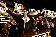 Illinois Republican U.S. Senate candidate Jack Ryan celebrates with supporters at his victory party after winning the nomination at the Chicago Hilton and Towers Tuesday March 16, 2004.
