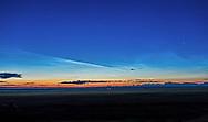 A grand display of noctilucent clouds at dawn on July 21, 2017, looking northeast and east with the 26-day-old thin waning crescent Moon just rising, and Venus bright as a &ldquo;morning star&rdquo; at right. This was the best NLC display of the summer to date, though many nights were plagued with cloud to the north or forest fire smoke. But seeing NLCs as high as this in the sky and well to the east, as at right is rare. <br /> <br /> This is a two-segment panorama (with each panel a single exposure) with the 35mm lens and Canon 6D. Stitched with ACR with Perspective projection.