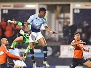 Blackpool player Armand Gnandullet scores Blackpool's first goal of the second half  during the EFL Sky Bet League 2 play off second leg match between Luton Town and Blackpool at Kenilworth Road, Luton, England on 18 May 2017. Photo by Ian  Muir.