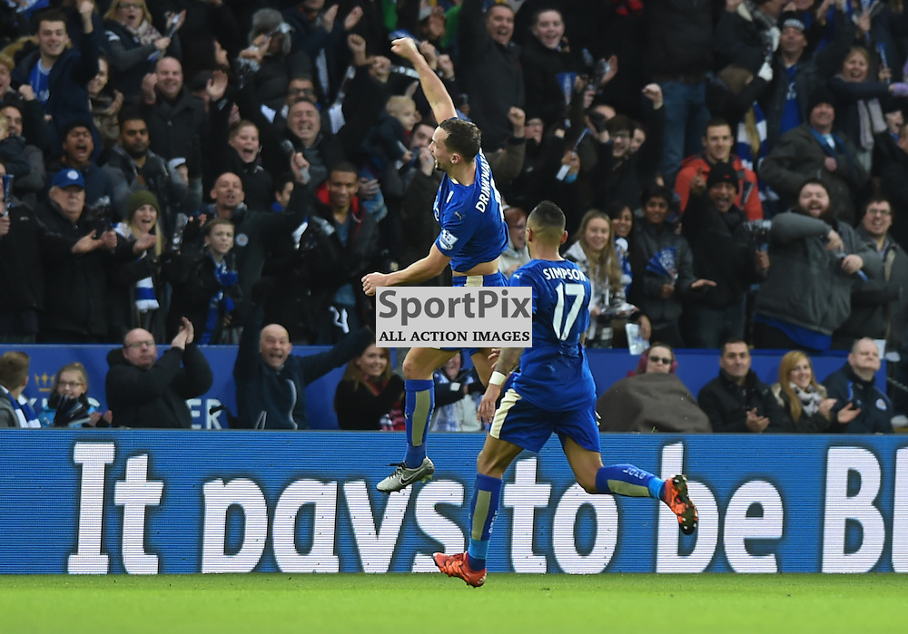 Danny Drinkwater jumps for joy after giving Leicester a 1-0 lead (c) Simon Kimber | SportPix.org.uk