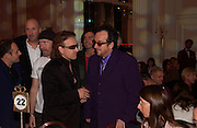 Bono and Elvis Costello, The Q Awards 2004, Grosvenor House, London. 4 October 2004. ONE TIME USE ONLY - DO NOT ARCHIVE  © Copyright Photograph by Dafydd Jones 66 Stockwell Park Rd. London SW9 0DA Tel 020 7733 0108 www.dafjones.com