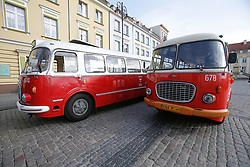August 19, 2017 - Bydgoszcz, Poland - Old buses from the communist era also called cucumbers due to their shape are seen in the old center of the city on 19 August, 2017. The renovated buses are used during weekends and public holidays for public tours in the city. (Credit Image: © Jaap Arriens/NurPhoto via ZUMA Press)