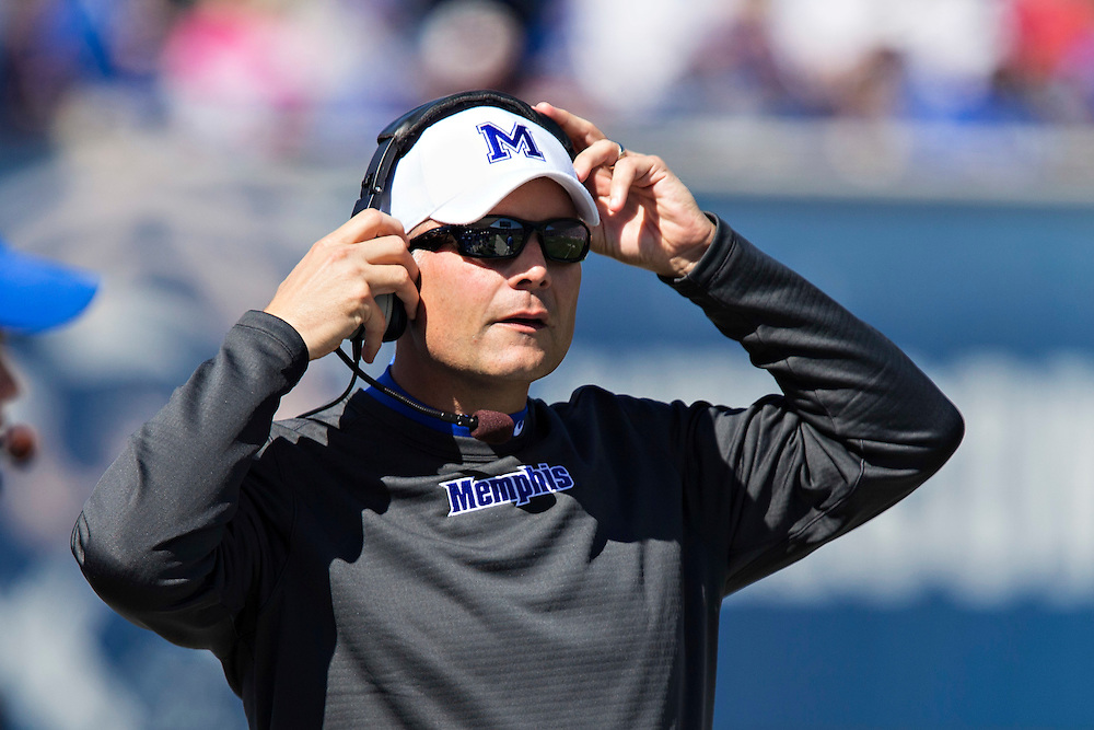 MEMPHIS, TN - OCTOBER 17:  Head Coach Justin Fuente  of the Memphis Tigers on the sidelines during a game against the Ole Miss Rebels at Liberty Bowl Memorial Stadium on October 17, 2015 in Memphis, Tennessee.  The Tigers defeated the Rebels 37-24.  (Photo by Wesley Hitt/Getty Images) *** Local Caption ***  Justin Fuente