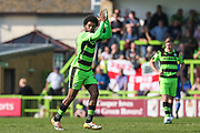 Forest Green Rovers Reuben Reid(26) applauds the fans as he is subbed during the EFL Sky Bet League 2 match between Forest Green Rovers and Chesterfield at the New Lawn, Forest Green, United Kingdom on 21 April 2018. Picture by Shane Healey.