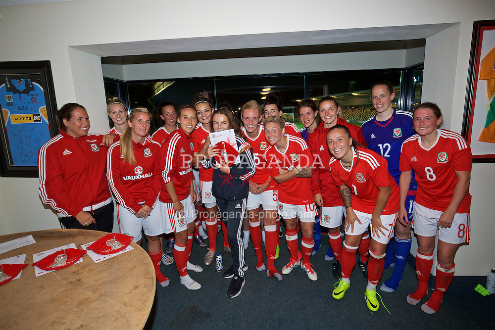 CARDIFF, WALES - Friday, August 19, 2016: Wales' Lily Woodham with the women's senior team at Rodney Parade. (Pic by David Rawcliffe/Propaganda)
