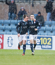 Dundee's Alex Harris celebrates after scoring their first goal with Dundee's Paul McGowan.<br /> Dundee 4 v 1 Motherwell, SPFL Premiership played 10/1/2015 at Dundee's home ground Dens Park.