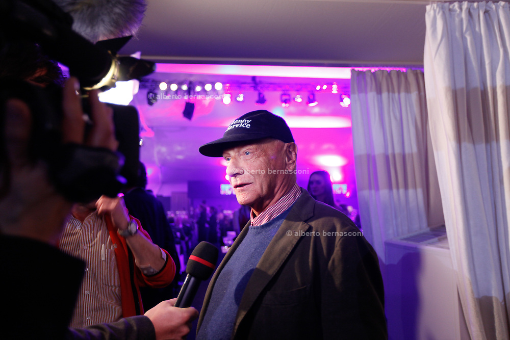 Kitzbuhel, party nighht after the Donwhill ski race, interview with Niki Lauda