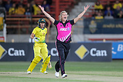 Sophie Devine appeals for LBW on Alyssa Healy. Women's T20 international Cricket , Australia v New Zealand White Ferns. North Sydney Oval, Sydney, NSW, Australia. 29 September 2018. Copyright Image: David Neilson / www.photosport.nz