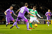 Yeovil Town's Brandon Goodship has a shot  during the Sky Bet League 2 match between Yeovil Town and Plymouth Argyle at Huish Park, Yeovil, England on 23 February 2016. Photo by Graham Hunt.