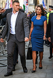 © Licensed to London News Pictures. 17/09/2019. London, UK. Businesswoman GINA MILLER is seen surrounded by security as she leaves the The Supreme Court in London where an appeal has been made against a judicial review of Boris Johnson's suspension of Parliament. The case has been brought by remain campaigner Gina Miller, with support from former British Prime Minister John Major. Photo credit: Ben Cawthra/LNP