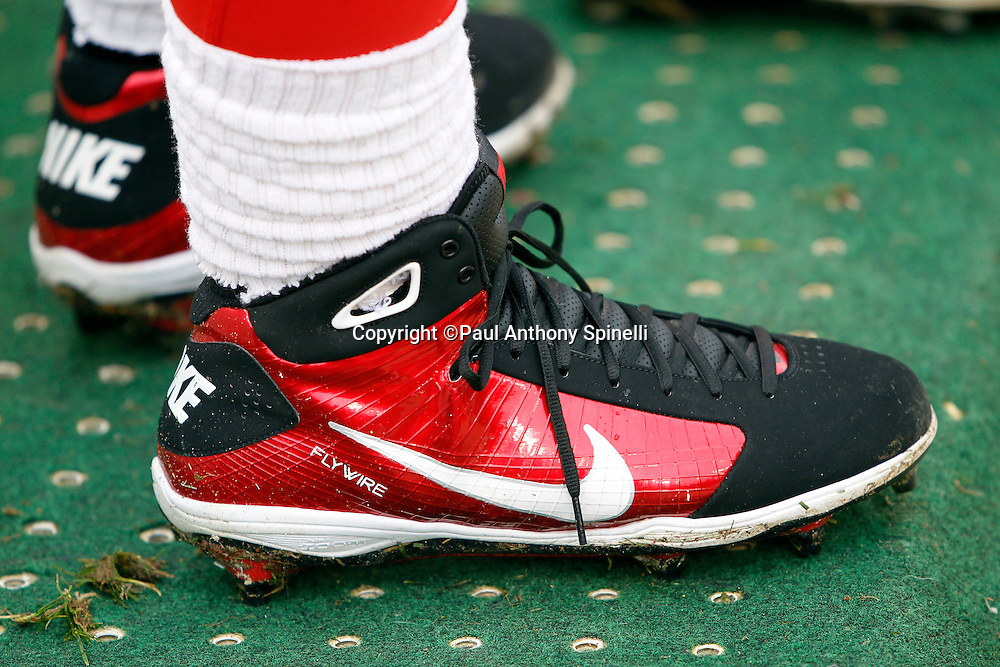 A San Francisco 49ers player wears long cleats during the NFL week 17 football game against the Arizona Cardinals on Sunday, January 2, 2011 in San Francisco, California. The 49ers won the game 38-7. (©Paul Anthony Spinelli)