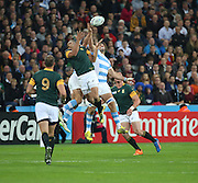 South Africa's Bryan Habana battling for a high ball. If he scores one more try in this world cup he will break Jonah Lomu's record during the Rugby World Cup Bronze Final match between South Africa and Argentina at the Queen Elizabeth II Olympic Park, London, United Kingdom on 30 October 2015. Photo by Matthew Redman.