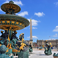 Maritime Navigation Fountain at Place de la Concorde in Paris, France<br />