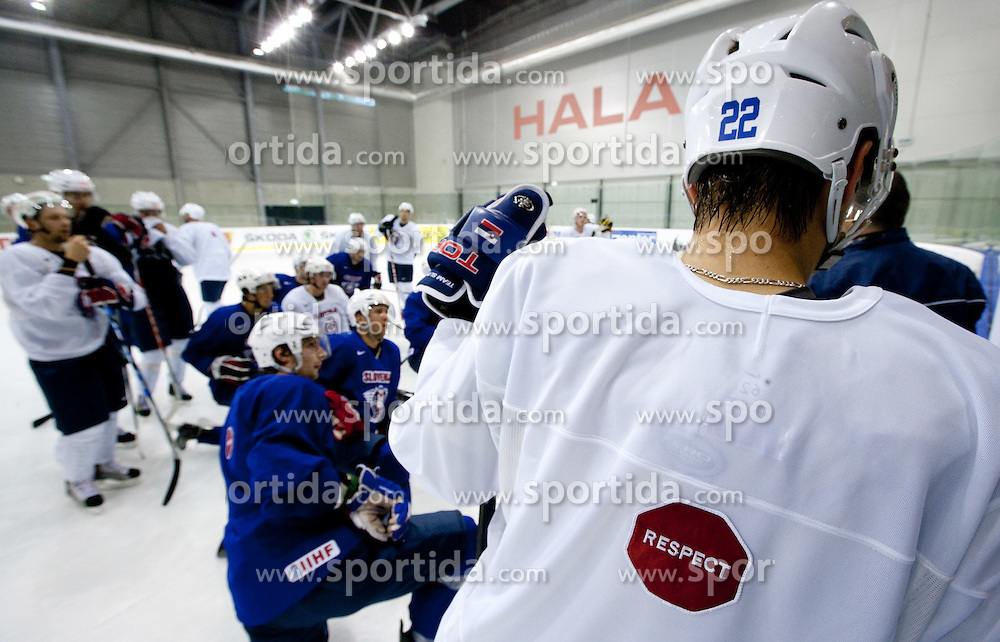 Respect jersey during practice session of Slovenian National ice hockey team 1 day before IIHF 2011 World Championship Slovakia, on April 28, 2011 in Hala B, Orange Arena, Bratislava, Slovakia. (Photo By Vid Ponikvar / Sportida.com)