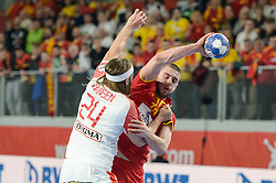 Filip Kuzmanovski of Macedonia during handball match between National teams of Macedonia and Denmark on Day 7 in Main Round of Men's EHF EURO 2018, on January 24, 2018 in Arena Varazdin, Varazdin, Croatia. Photo by Mario Horvat / Sportida