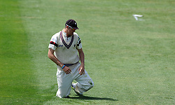 Dejection for Somerset's Craig Overton. Photo mandatory by-line: Harry Trump/JMP - Mobile: 07966 386802 - 27/05/15 - SPORT - CRICKET - LVCC County Championship - Division 1 - Day 4 - Somerset v Yorkshire - The County Ground, Taunton, England.