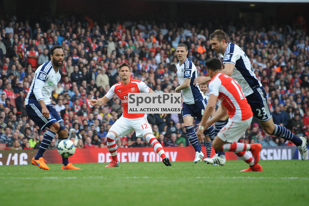 Arsenals Oliver Giroud action during the Arsenal v West Brom match on Sunday 24th May 2015