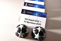 NYON, SWITZERLAND - Friday, July 10, 2020: The card of SSC Napoli and FC Barcelona pictured before being put into a draw ball during the UEFA Champions League and UEFA Europa League 2019/20 draws for the Quarter-final, Semi-final and Final at the UEFA headquarters, The House of European Football. (Photo Handout/UEFA)
