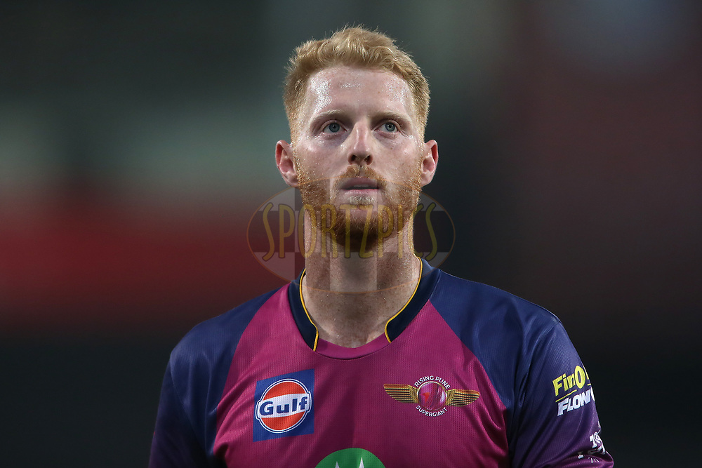 Ben Stokes of Rising Pune Supergiant during match 4 of the Vivo 2017 Indian Premier League between the Kings XI Punjab and the Rising Pune Supergiant held at the Holkar Cricket Stadium in Indore, India on the 8th April 2017<br /> <br /> Photo by Shaun Roy - IPL - Sportzpics