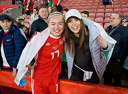 SOUTHAMPTON, ENGLAND - Friday, April 6, 2018: Wales' Charlie Estcourt celebrates with a friend after a hard fought goal-less draw with England during the FIFA Women's World Cup 2019 Qualifying Round Group 1 match between England and Wales at St. Mary's Stadium. (Pic by David Rawcliffe/Propaganda)