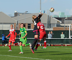 Sunderland AFC Ladies' Hilde Olsen and Bristol Academy's Christie Murray collide - Mandatory by-line: Paul Knight/JMP - 25/07/2015 - SPORT - FOOTBALL - Bristol, England - Stoke Gifford Stadium - Bristol Academy Women v Sunderland AFC Ladies - FA Women's Super League