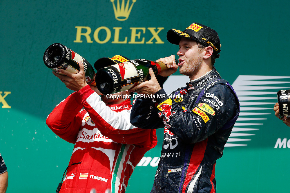 MOTORSPORT - F1 2013 - GRAND PRIX OF CANADA - MONTREAL (CAN) - 07 TO 09/06/2013 - PHOTO FRANCOIS FLAMAND / DPPI - VETTEL SEBASTIAN (GER) - RED BULL RENAULT RB9 - AMBIANCE PORTRAIT ALONSO FERNANDO (SPA) - FERRARI F138 - AMBIANCE PORTRAIT PODIUM