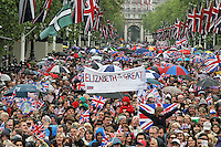 LONDON - JUNE 05: The Queen's Diamond Jubilee thousands crowd in to the The Mall, London, UK. June 05, 2012. (Photo by Richard Goldschmidt)
