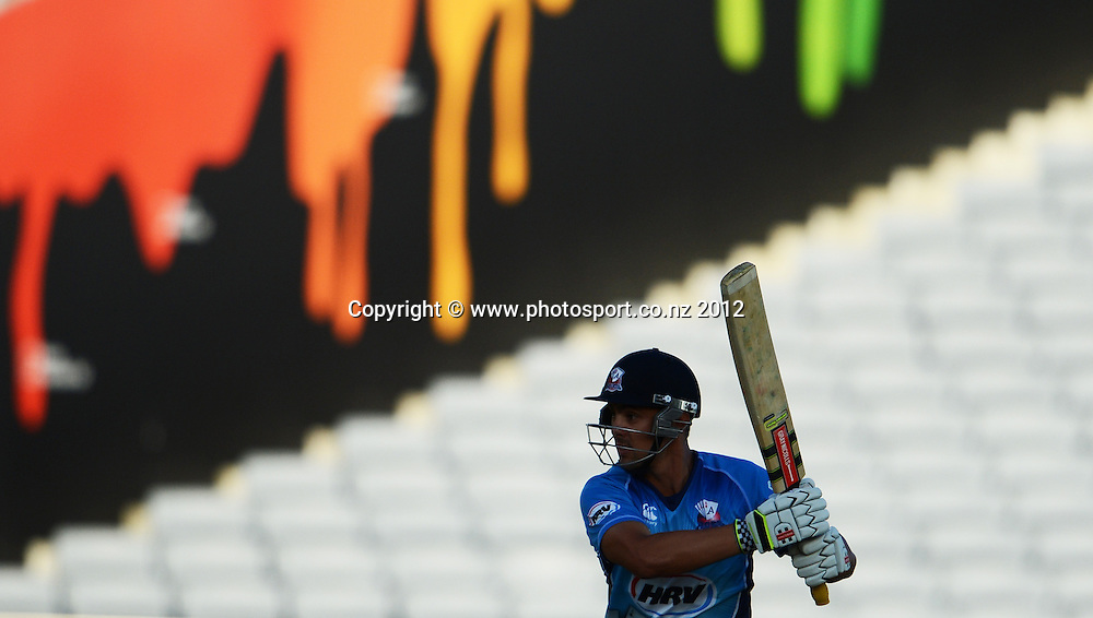Anaru Kitchen batting during the HRV Cup Twenty20 Cricket match between Auckland Aces and Canterbury Wizards at Eden Park on Friday 21 December 2012. Photo: Andrew Cornaga/Photosport.co.nz