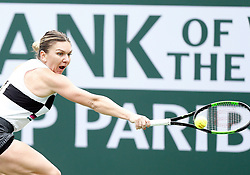 March 10, 2019 - Indian Wells, CA, U.S. - INDIAN WELLS, CA - MARCH 10: Simona Halep (ROU) hits a backhand during the third round of the BNP Paribas Open on March 10, 2019, at the Indian Wells Tennis Gardens in Indian Wells, CA. (Photo by Adam Davis/Icon Sportswire) (Credit Image: © Adam Davis/Icon SMI via ZUMA Press)