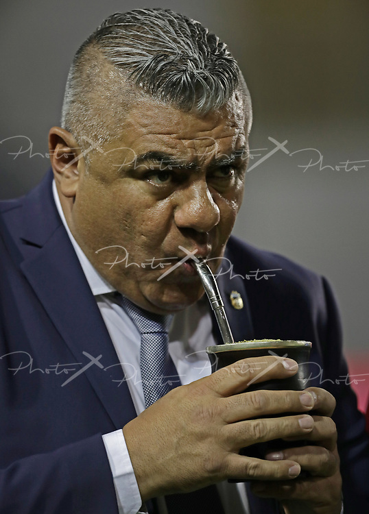 The president of the Argentine Football Association, Claudio Tapia, sips mate  the international friendly football match against Haiti at Boca Juniors' stadium La Bombonera in Buenos Aires, on May 29, 2018. (Alejandro PAGNI / PHOTOXPHOTO)