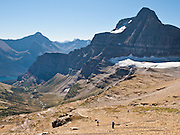 "Hikers walk beneath Sexton Glacier and Going-to-the-Sun Mountain in Glacier National Park, Montana, USA. Hike Siyeh Pass, a gorgeous traverse of 10.3 miles (2300 feet up, 3500 feet down) starting at Siyeh Bend, through Preston Park, and finishing down beautiful Baring Creek Valley. Since 1932, Canada and USA have shared Waterton-Glacier International Peace Park, which UNESCO declared a World Heritage Site (1995) containing two Biosphere Reserves (1976). Rocks in the park are primarily sedimentary layers deposited in shallow seas over 1.6 billion to 800 million years ago. During the tectonic formation of the Rocky Mountains 170 million years ago, the Lewis Overthrust displaced these old rocks over newer Cretaceous age rocks. Glaciers carved spectacular U-shaped valleys and pyramidal peaks as recently as the Last Glacial Maximum (the last ""Ice Age"" 25,000 to 13,000 years ago). Of the 150 glaciers existing in the mid 1800s, only 25 active glaciers remain in the park as of 2010, and all may disappear by 2020, say climate scientists."