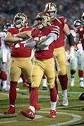 San Francisco 49ers running back Matt Breida (22) celebrates after running for a second quarter touchdown good for a 10-7 49ers lead during the NFL week 10 regular season football game against the New York Giants on Monday, Nov. 12, 2018 in Santa Clara, Calif. The Giants won the game 27-23. (©Paul Anthony Spinelli)