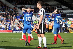 Danny Lloyd and Jack Marriott of Peterborough United rue a missed chance to score against Rochdale- Mandatory by-line: Joe Dent/JMP - 14/04/2018 - FOOTBALL - ABAX Stadium - Peterborough, England - Peterborough United v Rochdale - Sky Bet League One