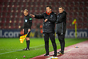 Gary Caldwell, manager of Partick Thistle FC encourages his team during the William Hill Scottish Cup quarter final replay match between Heart of Midlothian and Partick Thistle at Tynecastle Stadium, Gorgie, Edinburgh Scotland on 12 March 2019.
