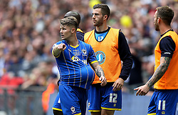 Jake Reeves of AFC Wimbledon hides the ball under his shirt - Mandatory by-line: Robbie Stephenson/JMP - 30/05/2016 - FOOTBALL - Wembley Stadium - London, England - AFC Wimbledon v Plymouth Argyle - Sky Bet League Two Play-off Final