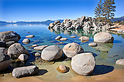 stunning and crisp winter morning of the shore of Lake Tahoe, Nevada