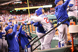 September 27, 2017 - St. Louis, MO, USA - The Chicago Cubs' Addison Russell (27) celebrates in the dugout after his three-run home run against the St. Louis Cardinals during the seventh inning at Busch Stadium in St. Louis on Wednesday, Sept., 27, 2017. (Credit Image: © Nuccio Dinuzzo/TNS via ZUMA Wire)