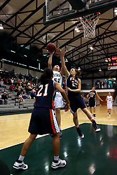 10 January 2009: Stacey Arlis gets off a lay up despite a block attempt by Jamie Jones. The Lady Titans of Illinois Wesleyan University downed the and Lady Thunder of Wheaton College by a score of 101 - 57 in the Shirk Center on the Illinois Wesleyan Campus in Bloomington Illinois.
