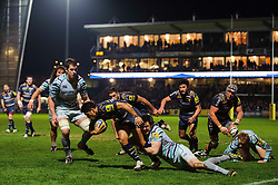 Worcester Winger (#11) David Lemi is tackled by Leicester Outside Centre (#13) Matt Smith during the first half of the match - Photo mandatory by-line: Rogan Thomson/JMP - Tel: Mobile: 07966 386802 04/01/2012 - SPORT - RUGBY - Sixways - Worcester. Worcester Warriors v Leicester Tigers - Aviva Premiership.