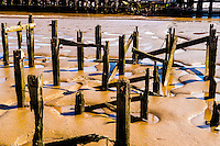 May 2, 2012. Kingston upon Hull, UK. Pictured: Remains of the Alexandra Dock Jetty in the River Humber