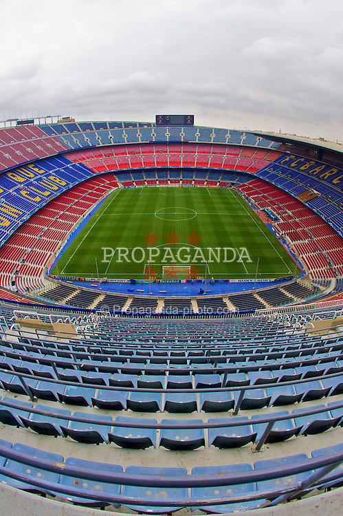 Barcelona, Spain - Wednesday, February 21, 2007: The scene awaiting the Liverpool fans in the Nou Camp before the UEFA Champions League First Knockout Round 1st Leg match between FC Barcelona and Liverpool at the Nou Camp. (Pic by David Rawcliffe/Propaganda)