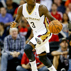 Oct 23, 2013; New Orleans, LA, USA; New Orleans Pelicans shooting guard Anthony Morrow (3) against the Miami Heat during the second half of a preseason game at New Orleans Arena. The Heat defeated the Pelicans 108-95. Mandatory Credit: Derick E. Hingle-USA TODAY Sports
