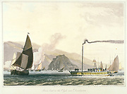 Steamboat on the Clyde near Dumbarton, Scotland. Aquatint from William Daniel 'A Voyage Round Great Britain', London, 1814-1819.