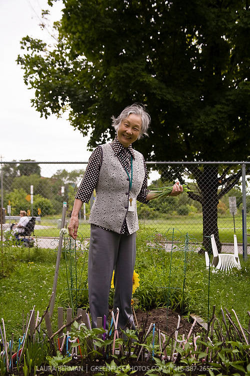 Community Gardener: A Chinese senior delights in growing familiar food in her community garden plot.