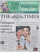 The Times Front Page 08/01/2011 - insert image of fromer Labour MP David ChaytorPicture by Mark Larner/Central News. Picture shows David Chaytor arriving at Southwark Crown Court at 07.55am. 07/01/2011...Mr Chaytor, former Labour MP for Bury North, was jailed today for false accounting on his expense claims.