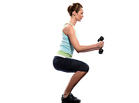woman exercising workout on white background