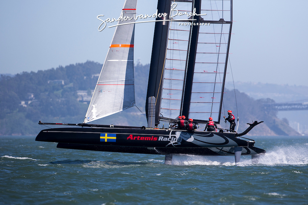 AC45 testing foiling. Artemis Racing April 2013, Alameda, USA