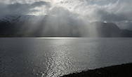 Rain passes over  Gloppenfjorden in Sandane, Norway, on Monday, May 13, 2013.   (© 2013 Cindi Christie/Cyanpixel)