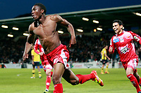 Ajaccio's forward Richard Socrier (L) celebrates after scoring a goal during the French L1 football match Ajaccio vs. Sochaux in the Francois Coty stadium in Ajaccio, Corsica, on May 2, 2012. PHOTO PASCAL POCHARD-CASABIANCA / AFP / DPPI
